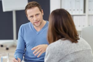 Man and female patient discussing what benzodiazepine detox entails