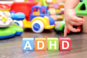 ADHD spelled in children's blocks